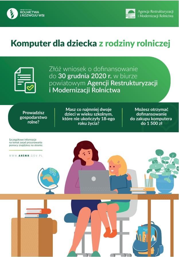 plakat - komputer dla dziecka z rodziny rolniczej.