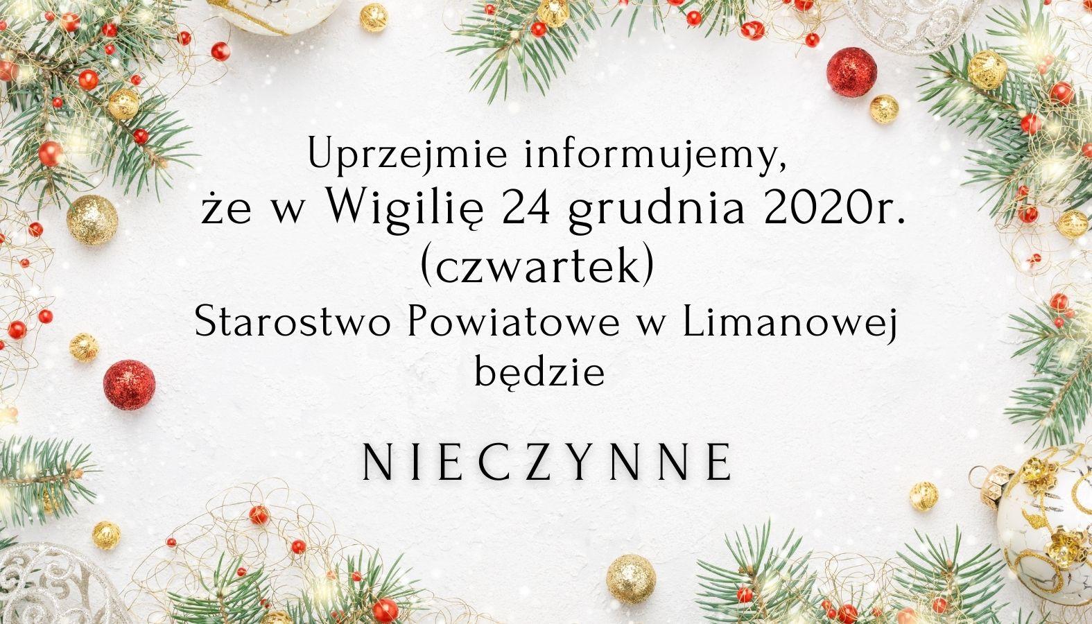 grafika - informacja że w Wigilię 24 grudnia 2021 roku Starostwo będzie nieczynne
