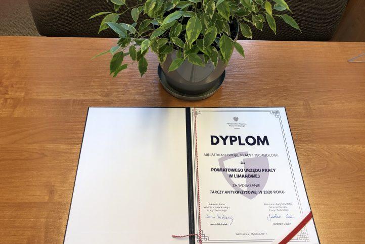 dyplom dla Powiatowego Urzędu Pracy w Limanowej