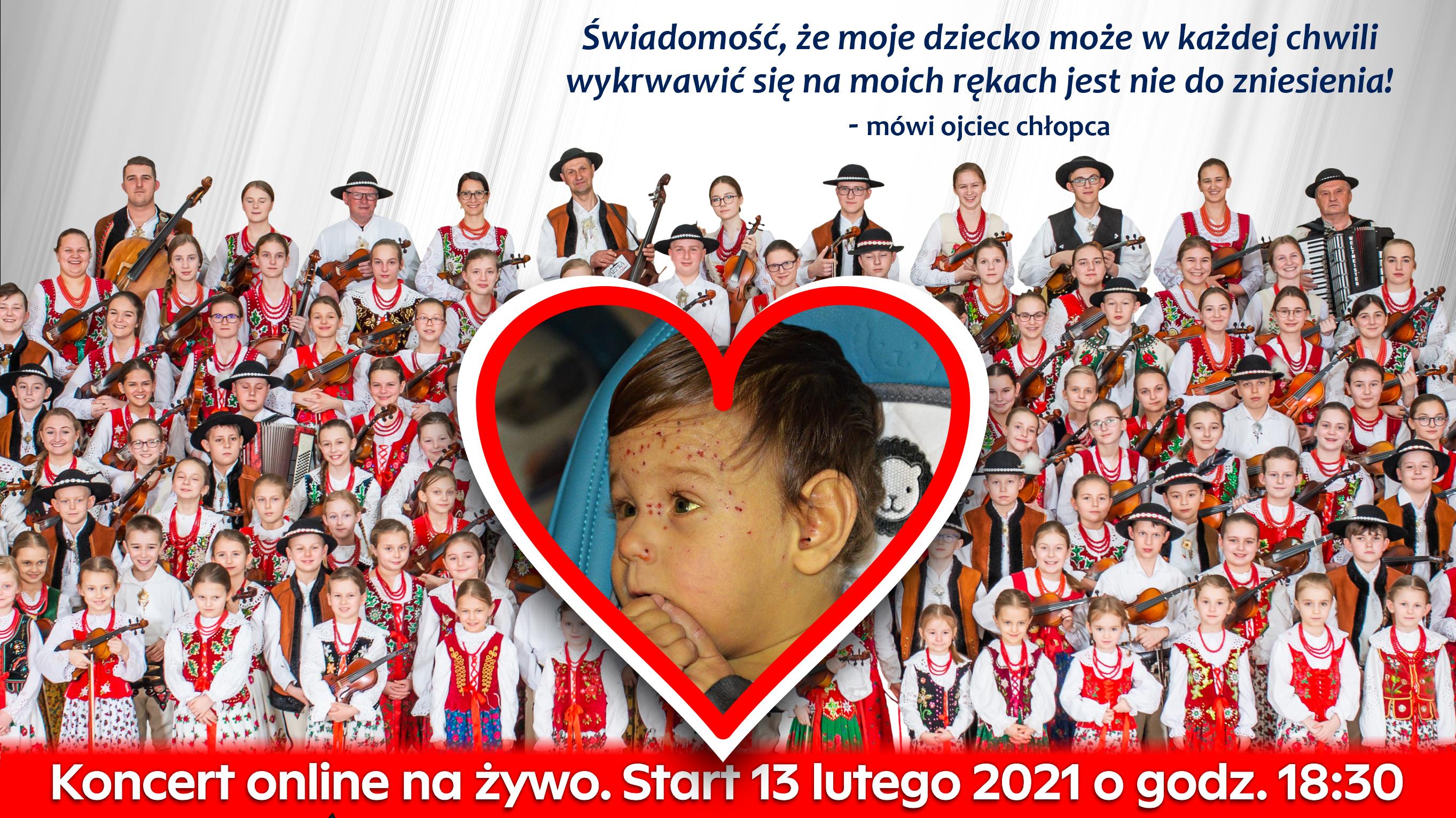 Plakat - koncert charytatywny online na rzezcz ciężko chorego Marcela Kubaki. Plakat przedstawia chore dziecko na tle zespołów regionalnych.