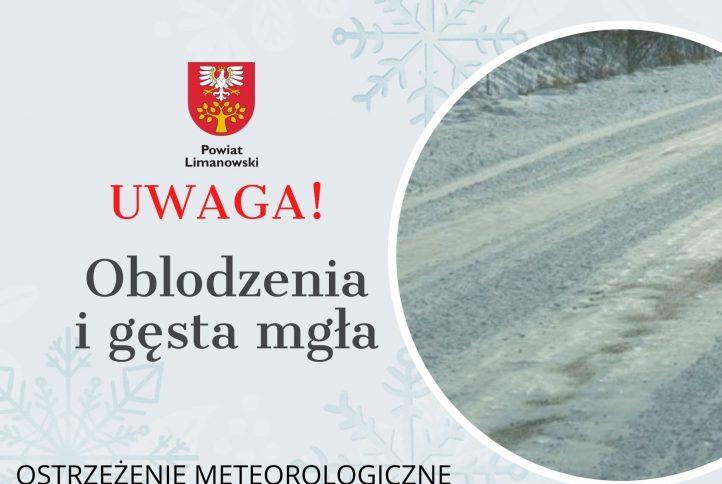 grafika w sprawie ostrzeżenia meteorologicznego- Uwaga oblodzenia i gęsta mgła.
