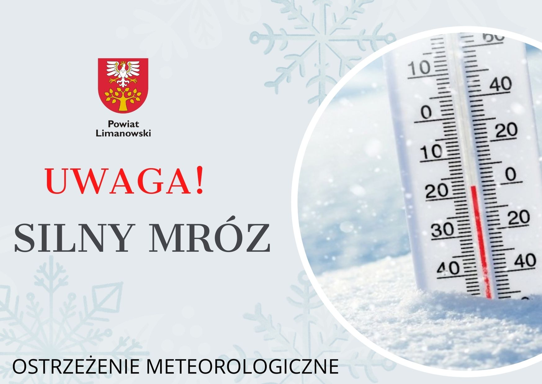 grafika w sprawie ostrzeżenia meteorologicznego- Uwaga! Silny Mróz