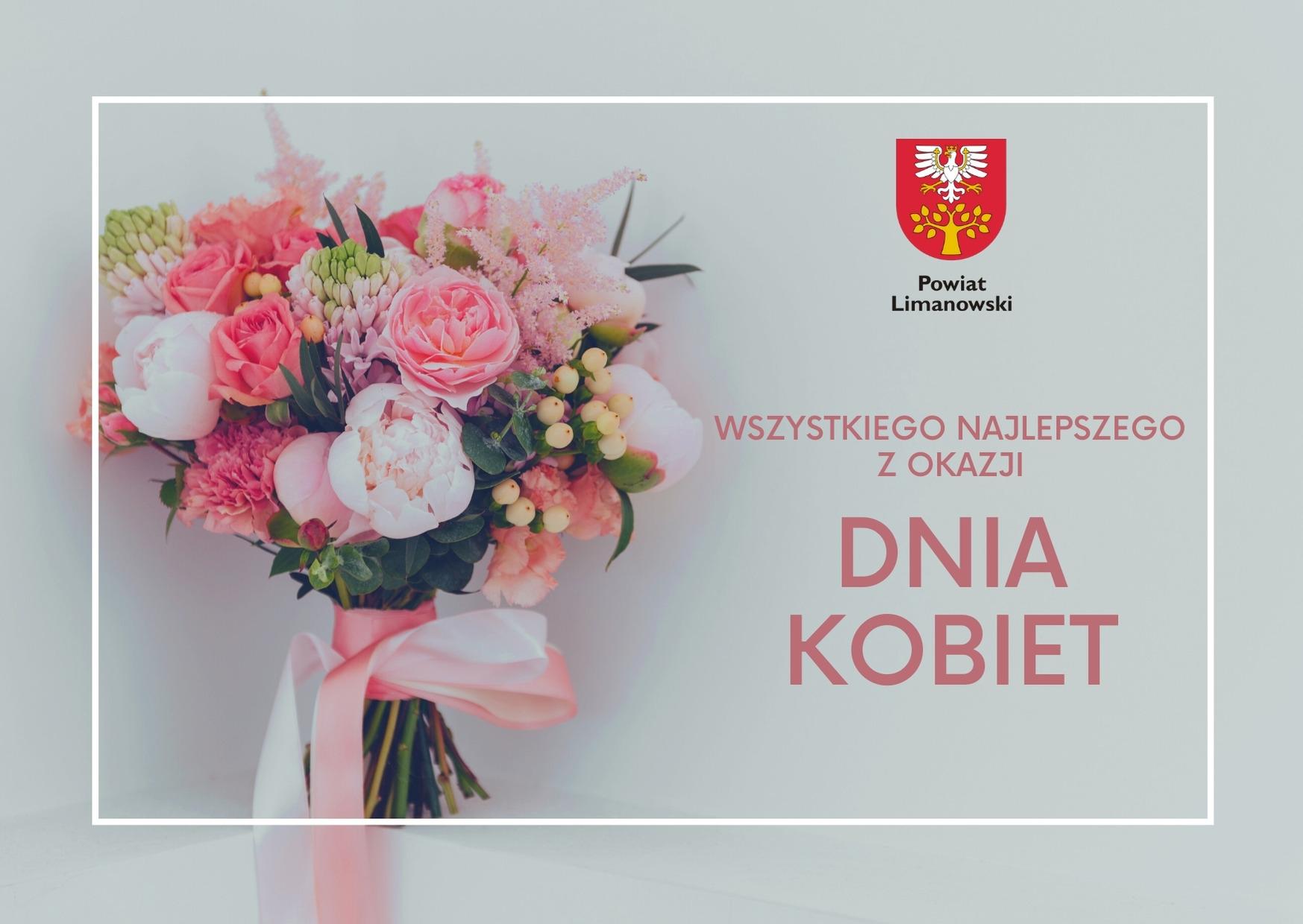 Wszystkiego najlepszego z okazji dnia kobiet. Bukiet kwiatów. Herb powiatu limanowskiego