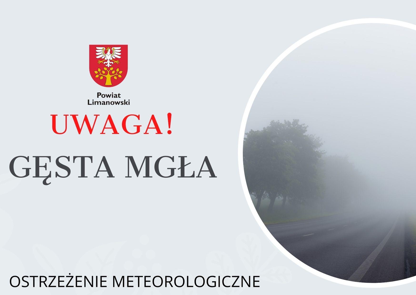 grafika - ostrzeżenie meteorologiczne - uwaga gęsta mgła