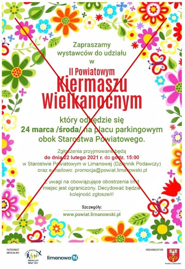 Plakat - II Powiatowy Kiermasz Wielkanocny - przekreślony czerwonym iksem.