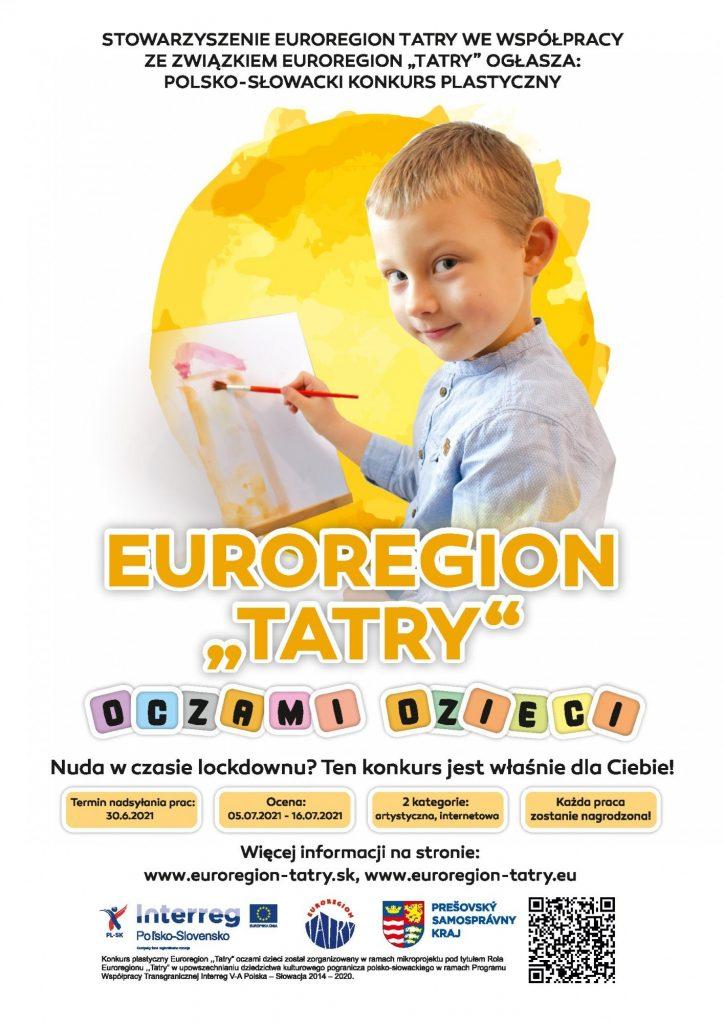 Plakat informujący o wydarzeniu euroregion tatry oczami dzieci.