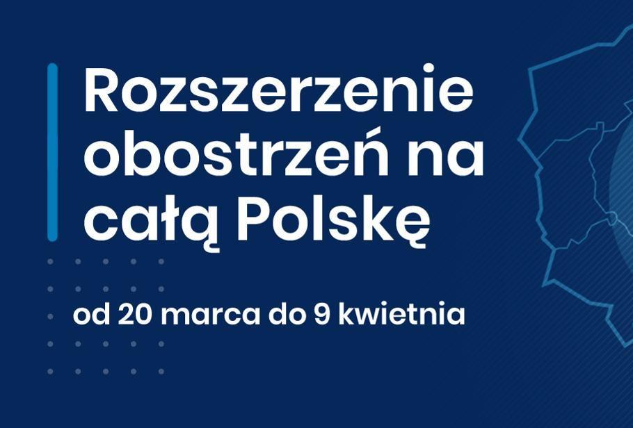 Rozszerzenie obostrzeń na całą Polskę. Plakat