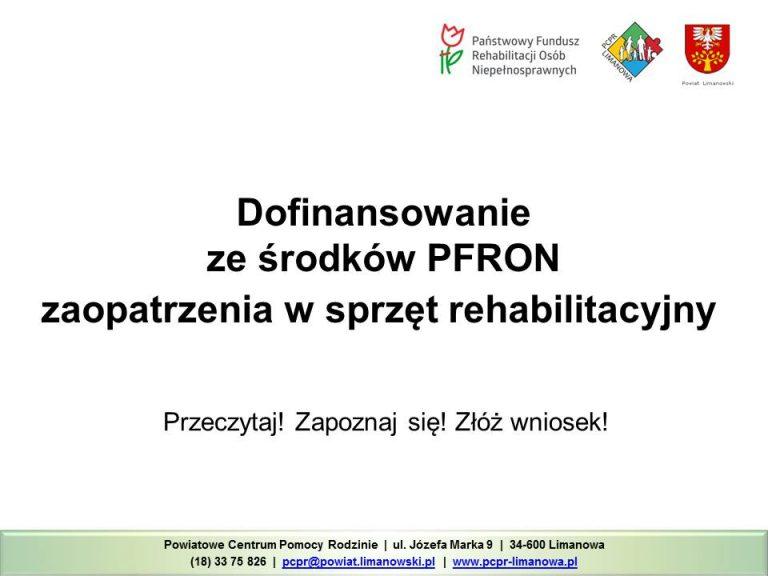 Dofinansowanie PFRON sprzęt rehabilitacyjny