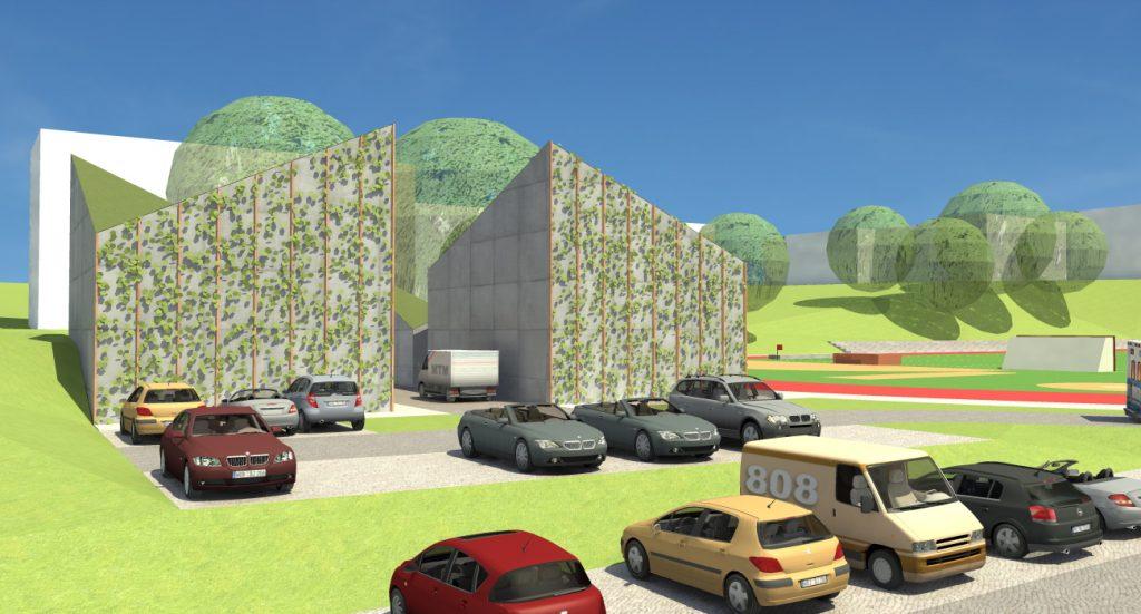 Projekt 3. Widok na budynki socjalne i parking