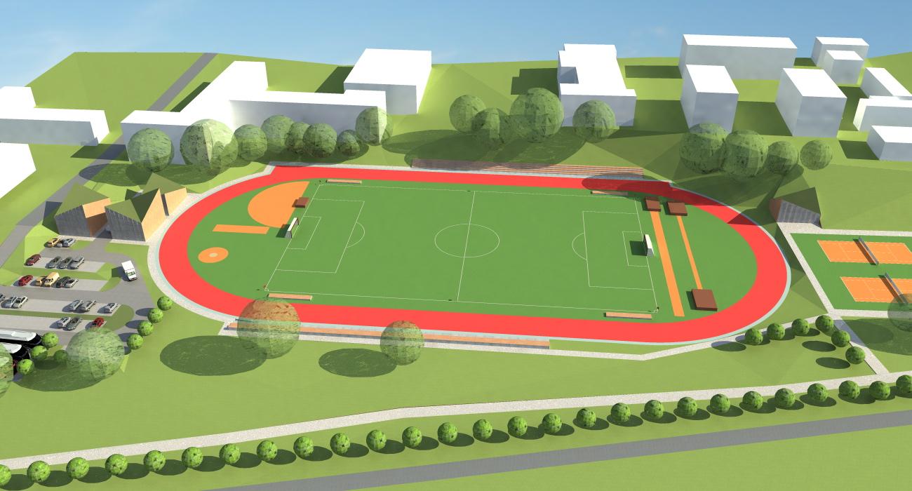 Projekt boiska wielofunkcyjnego. Rzut z góry widok na boiska i architekturę towarzyszącą - parkingi i budynki.