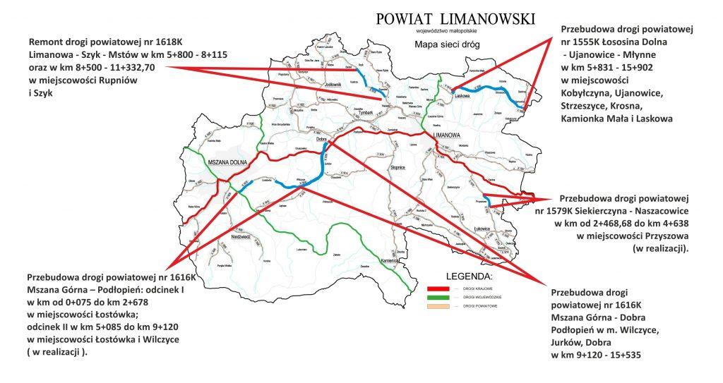 mapa sieci dróg powiatu limanowskiego i zaznaczonymi odcinkami przebudowywanymi