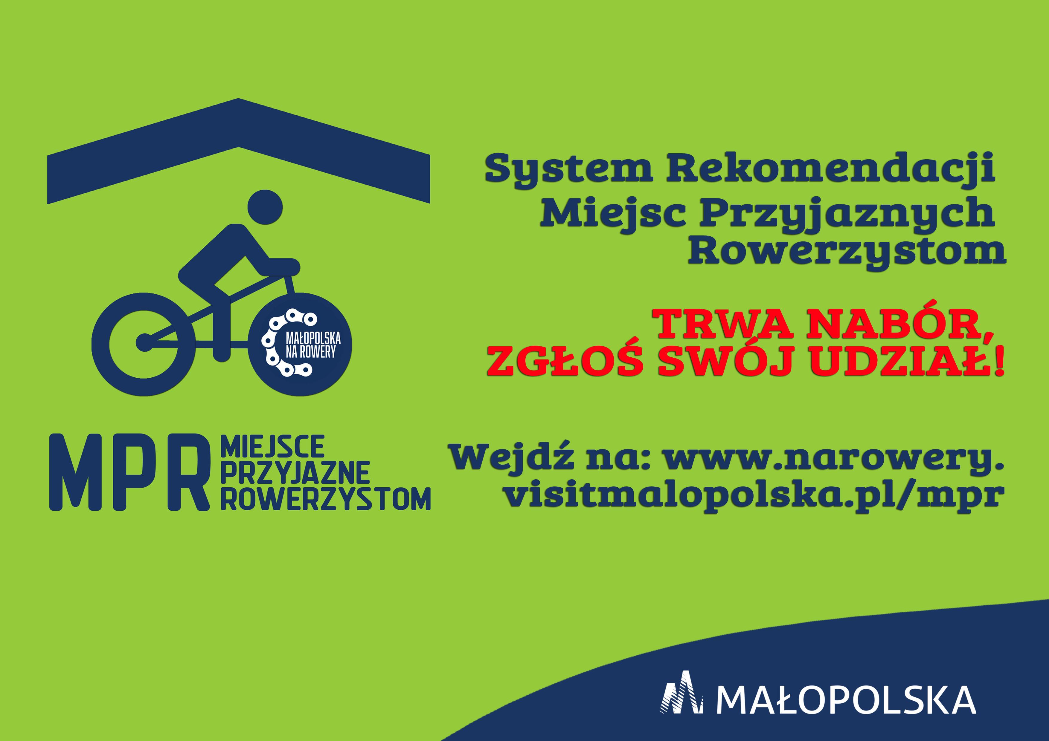 Plakat informacyjny na temat naboru do Małopolskiego Systemu Miejsc Przyjaznych Rowerzystom