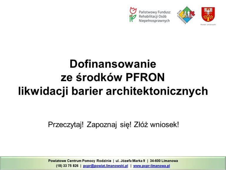 Dofinansowanie ze środków PFRON likaidacji barier architektonicznych