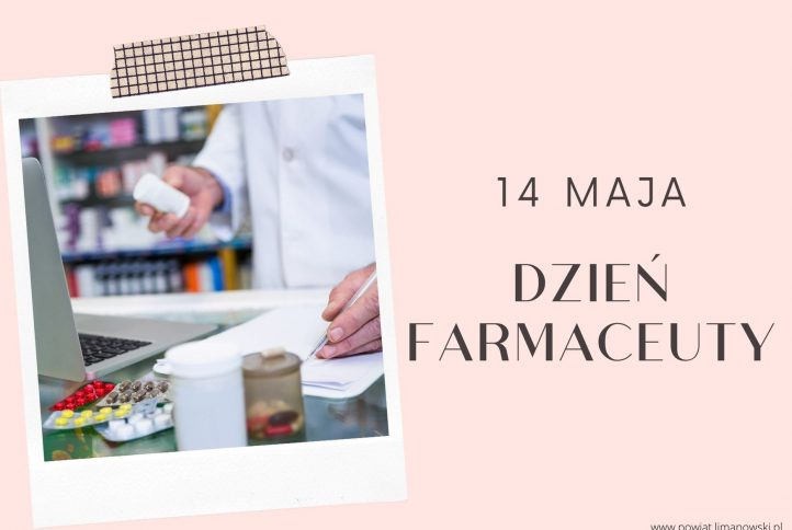 Plakat - zdjęcie rąk farmaceuty w aptecektóra podaje leki i pisze długpisem na kartce. Napis : 14 maja Dzień Farmaceuty