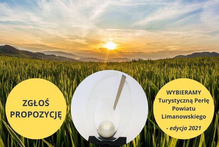 """Plakat informacyjny - """"Wybieramy Turystyczną Perłę Powiatu Limanowskiego"""" - edycja 2021"""