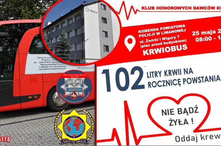 """Plakat informacyjny zachęcajacy do udziału w akcji krwiodawstwa PCK """"102 litry krwi na rocznicę Powstania Policji"""""""