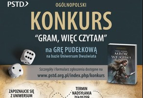 """""""Gram więc czytam""""- konkurs MBP w Limanowej- plakat informacyjny"""
