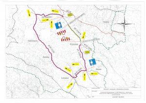 Mapa z wyznaczonymi objazdami drogi powiatowej