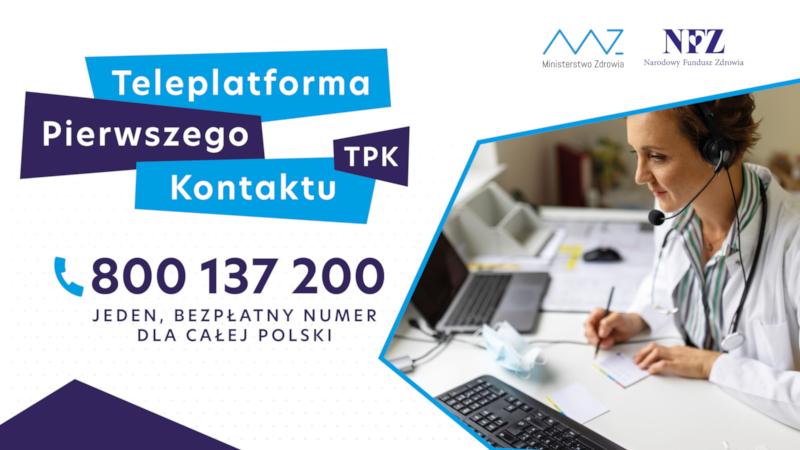 """Plakat informacyjny NFZ i MZ """"Teleporada pierwszego kontaktu"""""""