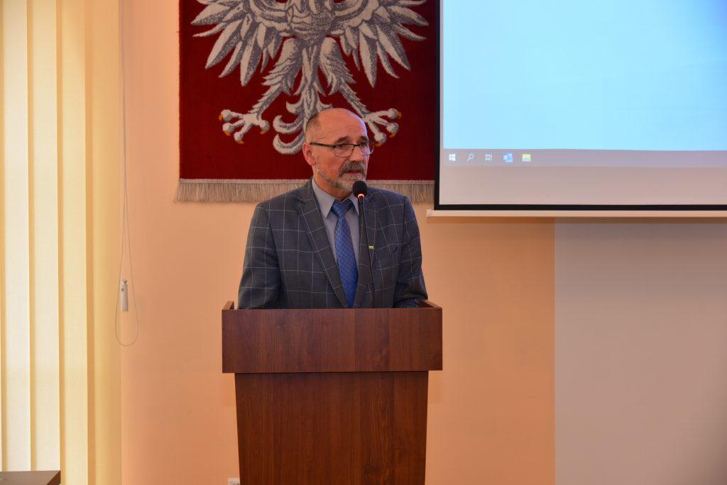Wojciech Włodarczyk - Członek Zarzadu Powiatu Limanowskiego podczas przemówienia