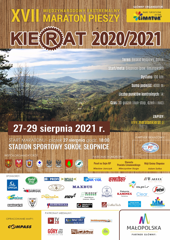 XVII Maraton pieszy Kierat 2020/2021 plakat informacyjny