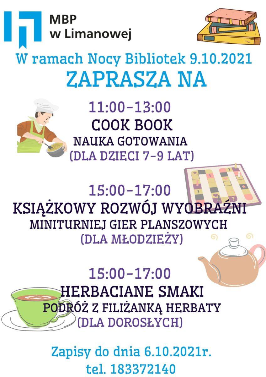 """""""Noc Bibliotek"""" plakat informacyjny"""