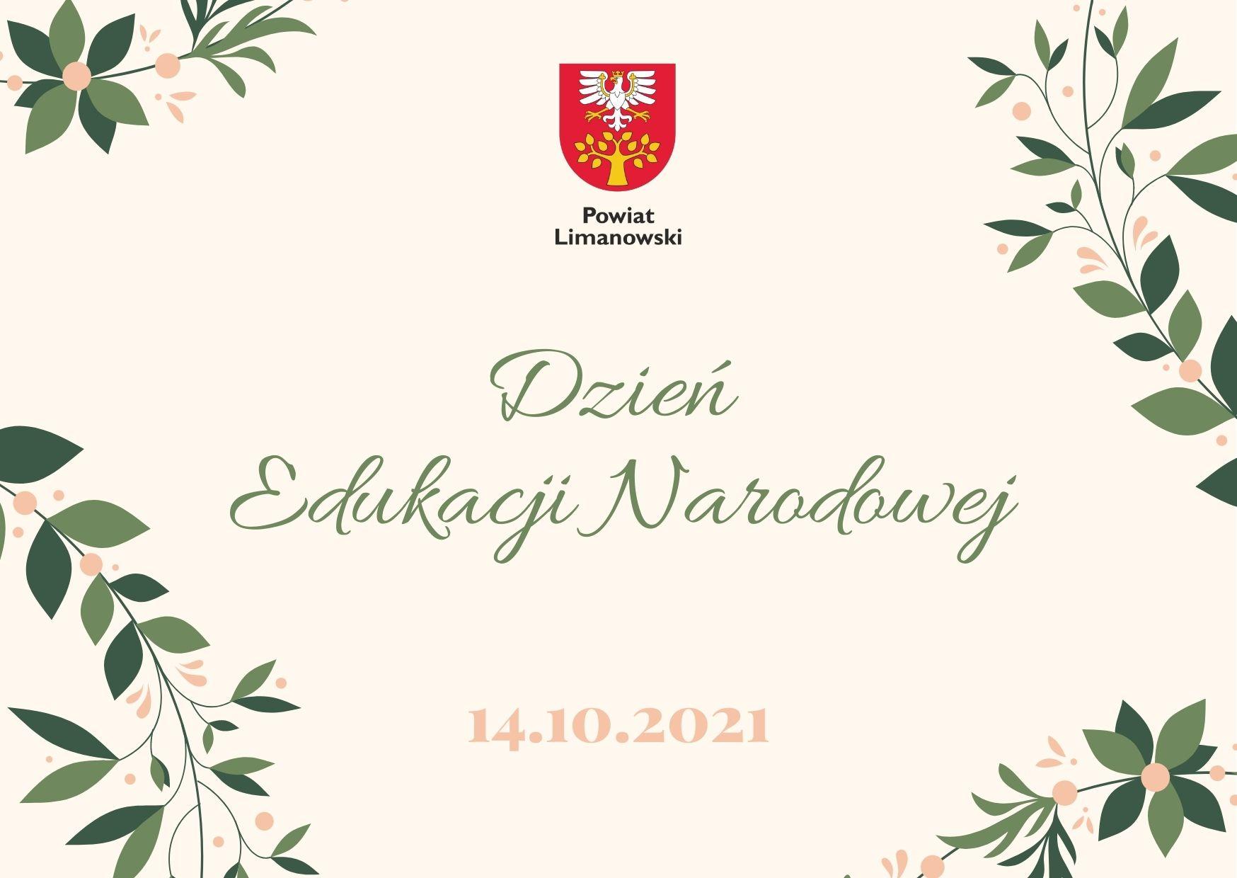 Plakat informujący o wydarzeniu. Napis Dzień edukacji naodowej, 14 października 2021