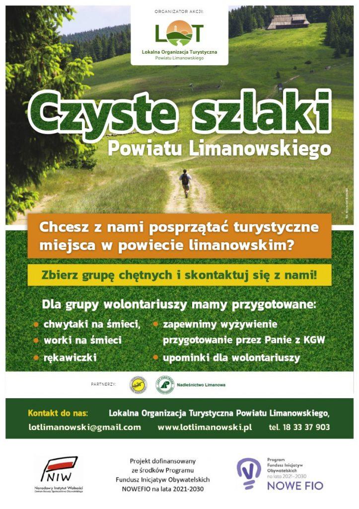 Czyste Szlaki Powiatu Limanowskiego - plakat informacyjny akcji