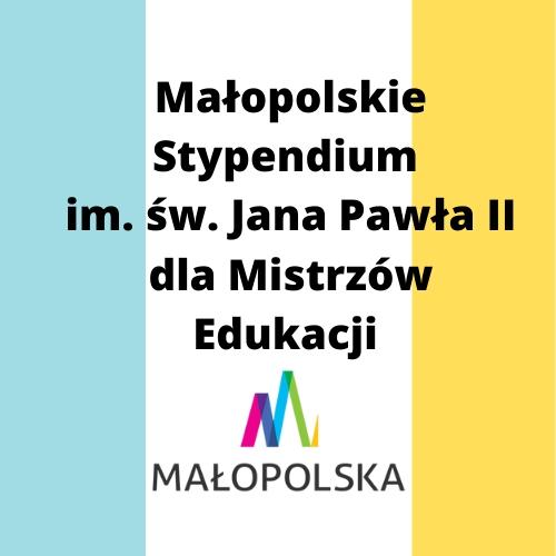 Małopolskie Stypendium im. św. Jana Pawła II dla Mistrzów Edukacji - logo