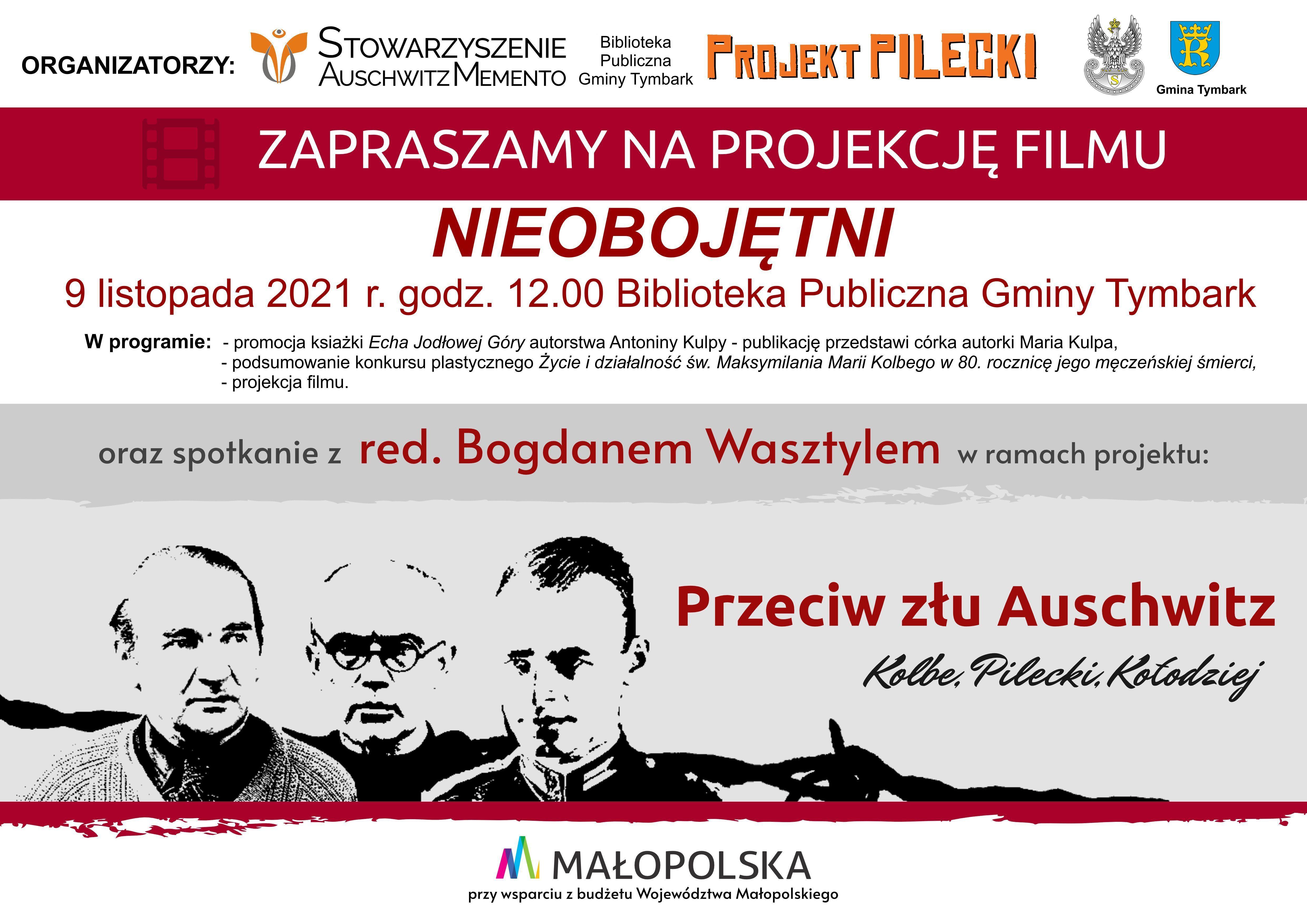 Plakat zapraszajacy na wydarzenie: projekcja filmu pt. Nieobojetni 9 listopada 2021r. 12.00 w Bibliotece Publicznej Gminy Tymbark